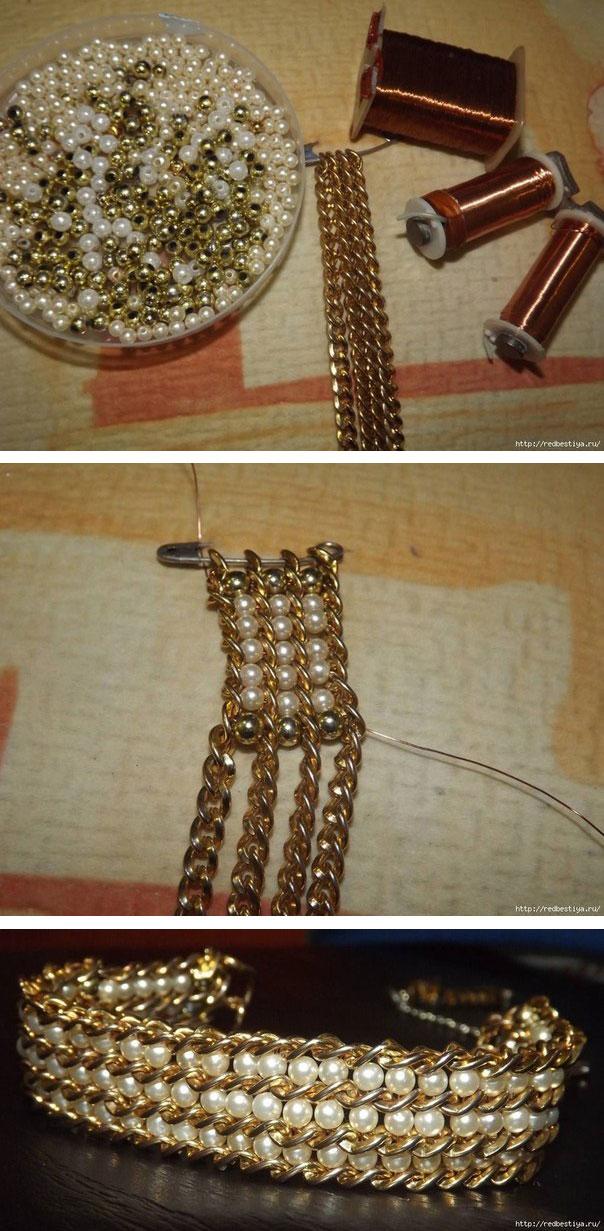 браслет из бусин и цепочки